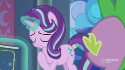 Size: 1280x720 | Tagged: safe, screencap, spike, starlight glimmer, dragon, pony, unicorn, memories and more, spoiler:memories and more, spoiler:mlp friendship is forever, 9now, book, eyes closed, levitation, magic, magic aura, pointing at self, scrapbook, telekinesis, winged spike