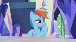 Size: 1280x720 | Tagged: safe, screencap, rainbow dash, pegasus, pony, memories and more, spoiler:memories and more, spoiler:mlp friendship is forever, 9now, laughing, mid-blink screencap, sitting, smug, solo