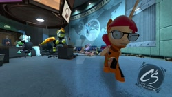 Size: 1024x576 | Tagged: safe, artist:johnathon-matthews, lyra heartstrings, rainbow dash, spitfire, twilight sparkle, oc, oc:khunis jirall, alicorn, pegasus, unicorn, 3d, black mesa, demoman, deviantart watermark, glasses, gman, gmod, gordon freeman, half-life, obtrusive watermark, scepter, team fortress 2, tiny desk engineer, twilight scepter, watermark