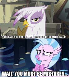 Size: 1280x1440 | Tagged: safe, edit, edited screencap, editor:jaredking203, screencap, gilda, silverstream, griffon, hippogriff, the lost treasure of griffonstone, what lies beneath, caption, female, image macro, meme, text