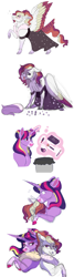 Size: 2000x7500 | Tagged: safe, artist:uunicornicc, twilight sparkle, oc, oc:summer ballad, alicorn, pegasus, pony, blood, clothes, colored wings, crossdressing, dress, lipstick, magic, magical lesbian spawn, male, multicolored wings, nosebleed, offspring, parent:rainbow dash, parent:twilight sparkle, parents:twidash, simple background, stallion, twilight sparkle (alicorn), white background, wings