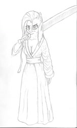 Size: 807x1329 | Tagged: safe, artist:friendshipishorses, fluttershy, anthro, badass, breasts, cleavage, clothes, flutterbadass, kimono (clothing), monochrome, solo, sword, traditional art, weapon