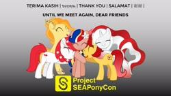 Size: 1920x1080 | Tagged: safe, artist:seaponycon, oc, oc:indonisty, oc:kwankao, oc:pearl shine, oc:rosa blossomheart, oc:temmy, project seaponycon, chinese, group hug, hug, indonesia, indonesian, malay, malaysia, nation ponies, philippines, singapore, tagalog, thai, thailand