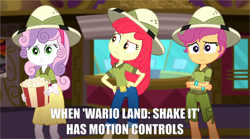 Size: 1280x713 | Tagged: safe, edit, edited screencap, screencap, apple bloom, scootaloo, sweetie belle, eqg summertime shorts, equestria girls, the canterlot movie club, belt, boots, clothes, crossed arms, cutie mark crusaders, food, hand on hip, hat, jeans, looking at someone, looking at something, nintendo, pants, popcorn, sad, shoes, shorts, skirt, text, theater, wario land, wario land: shake it