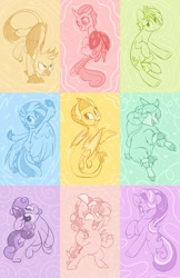 Size: 794x1226 | Tagged: artist needed, safe, cozy glow, gallus, ocellus, sandbar, silverstream, smolder, starlight glimmer, sweetie belle, yona, changedling, changeling, classical hippogriff, dragon, earth pony, griffon, hippogriff, pegasus, pony, unicorn, yak, dragoness, female, filly, male, mare, stallion, student six