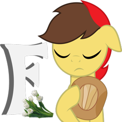 Size: 1200x1204 | Tagged: safe, artist:arifproject, oc, oc only, oc:aspire bolt, pegasus, pony, eyes closed, flower, hat, hoof hold, male, press f to pay respects, simple background, solo, stallion, transparent background