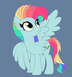 Size: 2445x2620 | Tagged: safe, artist:circuspaparazzi5678, oc, oc:rainbow blitz, pegasus, pony, base used, blue background, female, magical lesbian spawn, mare, offspring, parent:fluttershy, parent:rainbow dash, parents:flutterdash, simple background, solo