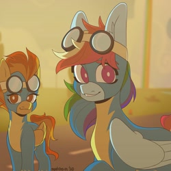 Size: 1440x1440 | Tagged: safe, artist:r_ocketkai, rainbow dash, spitfire, pegasus, pony, clothes, duo, goggles, uniform, vulgar description, wonderbolts, wonderbolts uniform