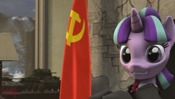 Size: 1024x576 | Tagged: safe, artist:ilikelilpipalot, starlight glimmer, 3d, clothes, communist pony, flag, source filmmaker, soviet, soviet flag, soviet russia, soviet union, stalin glimmer, tank (vehicle), uniform