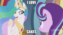 Size: 800x450 | Tagged: safe, edit, edited screencap, screencap, princess celestia, starlight glimmer, alicorn, unicorn, spoiler:memories and more, spoiler:mlp friendship is forever, cake, cakelestia, caption, food, image macro, looking at each other, memories and more, text