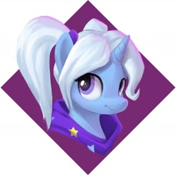 Size: 1418x1417 | Tagged: safe, artist:stardep, trixie, pony, unicorn, abstract background, alternate hairstyle, babysitter trixie, bust, clothes, cute, diatrixes, female, gameloft, gameloft interpretation, hair tie, jacket, looking at you, mare, pigtails, portrait, smiling, smiling at you, solo, twintails