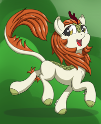 Size: 1536x1880 | Tagged: safe, artist:itchystomach, autumn blaze, kirin, sounds of silence, awwtumn blaze, cute, female, looking at you, open mouth, prancing, raised hoof, smiling, solo