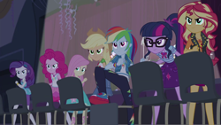 Size: 1920x1080 | Tagged: safe, screencap, applejack, fluttershy, pinkie pie, rainbow dash, rarity, sci-twi, sunset shimmer, twilight sparkle, cheer you on, equestria girls, equestria girls series, spoiler:eqg series (season 2), female, geode of empathy, geode of fauna, geode of shielding, geode of sugar bombs, geode of super speed, geode of super strength, geode of telekinesis, humane five, humane seven, humane six, magical geodes