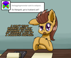 Size: 977x800   Tagged: safe, artist:clouddg, oc, oc only, oc:marigold, earth pony, pony, ask pun, ask, female, looking at you, mare, solo