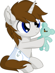 Size: 5686x7616 | Tagged: safe, artist:cyanlightning, oc, oc:sentinel shield, pony, unicorn, .svg available, absurd resolution, baby, baby pony, colt, cute, diaper, foal, holding, male, ocbetes, plushie, simple background, smiling, solo, teddy bear, transparent background, vector, younger