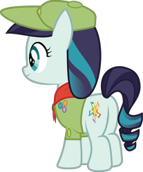 Size: 7311x8819 | Tagged: safe, artist:wissle, coloratura, pony, absurd resolution, badge, camp friendship, clothes, female, filly, hat, rara, rear view, scarf, scout, scout uniform, simple background, smiling, solo, transparent background, vector, younger