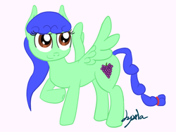 Size: 1600x1200 | Tagged: safe, artist:jyxia, oc, oc only, oc:blurie grape, pegasus, pony, female, mare, simple background, solo