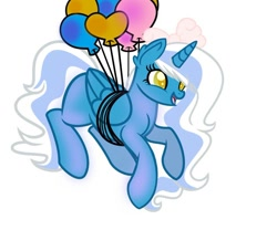 Size: 980x815 | Tagged: safe, artist:tkn297, oc, oc:fleurbelle, alicorn, pony, alicorn oc, balloon, bow, female, floating, hair bow, horn, mare, then watch her balloons lift her up to the sky, wingding eyes, wings