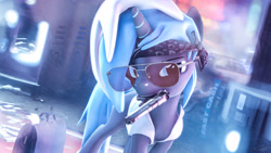 Size: 3840x2160 | Tagged: safe, artist:calveen, artist:whiteskyline, oc, oc:whiteskyline, pony, unicorn, 3d, aviator glasses, bandana, briefcase, clothes, desert eagle, gun, handgun, headband, looking at you, money, mouth hold, pistol, shirt, solo, source filmmaker, weapon