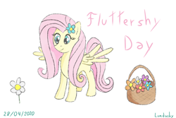 Size: 1620x1080 | Tagged: safe, artist:lundashy, fluttershy, basket, flower, flower in hair, fluttershy day, simple background, spread wings, white background, wings