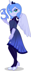 Size: 1641x3722 | Tagged: safe, artist:limedazzle, princess luna, human, equestria girls, clothes, dress, equestria girls-ified, horn, horned humanization, humanized, mask, nightmare luna, s1 luna, simple background, solo, transparent background, winged humanization, wings