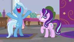 Size: 1920x1080 | Tagged: safe, screencap, starlight glimmer, trixie, pony, unicorn, a horse shoe-in, bipedal, cheering, female, hooves in air, mare, nose in the air, open mouth, rearing, spreading, uvula