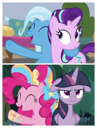 Size: 3106x4096 | Tagged: safe, screencap, mean twilight sparkle, pinkie pie, starlight glimmer, trixie, a horse shoe-in, the mean 6, floppy ear, rainbow power