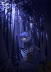 Size: 1748x2480 | Tagged: safe, artist:l8lhh8086, oc, oc only, oc:bar, bat pony, female, forest, mare, solo, tree
