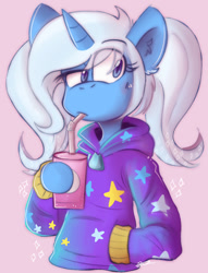 Size: 709x926 | Tagged: safe, artist:vampymatsu, trixie, pony, unicorn, alternate hairstyle, babysitter trixie, bust, clothes, drink, hoodie, pigtails, solo, twintails