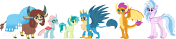 Size: 6648x1500 | Tagged: safe, artist:cloudyglow, gallus, ocellus, sandbar, silverstream, smolder, yona, changedling, changeling, dragon, earth pony, griffon, pony, yak, cloudyglowverse, absurd resolution, alternate universe, cutie mark, older, older gallus, older ocellus, older sandbar, older silverstream, older smolder, older yona, simple background, smiling, student six, transparent background