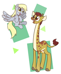 Size: 1806x2160 | Tagged: safe, artist:cookieboy011, clementine, derpy hooves, giraffe, pegasus, pony, abstract background, cute, duo, female, mare