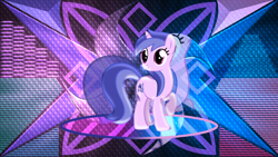 Size: 3840x2160 | Tagged: safe, artist:laszlvfx, artist:m99moron, edit, sea swirl, seafoam, pony, unicorn, abstract background, background pony, cute, female, high res, mare, raised hoof, turned head, wallpaper, wallpaper edit