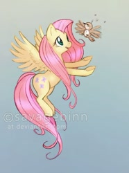 Size: 400x539 | Tagged: safe, artist:savagebinn, fluttershy, bird, pegasus, pony, female, flying, flying lesson, helping, learning to fly, looking at someone, looking up, mare, obtrusive watermark, open mouth, reaching, smiling, solo, spread wings, trying to fly, watermark, wings