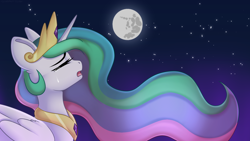 Size: 1920x1080 | Tagged: safe, artist:xcinnamon-twistx, princess celestia, lullaby for a princess, crown, crying, eyes closed, flowing mane, jewelry, moon, necklace, night, open mouth, regalia, sad, singing, solo, wallpaper