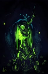 Size: 2650x4096 | Tagged: safe, artist:anticular, queen chrysalis, changeling, changeling queen, bust, creepy, female, glowing mouth, nightmare fuel, solo