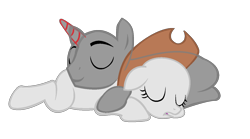 Size: 1354x752 | Tagged: safe, artist:drunkencoffee, oc, earth pony, pony, unicorn, bald, base, duo, earth pony oc, eyes closed, female, hat, horn, lineart, male, mare, prone, simple background, sleeping, stallion, transparent background, unicorn oc