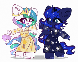 Size: 2500x2000 | Tagged: safe, artist:etoz, princess celestia, princess luna, alicorn, pony, bipedal, blushing, clothes, colored hooves, crescent moon, crown, cute, dress, duo, ear fluff, female, high res, jewelry, mare, moon, open mouth, regalia, royal sisters, siblings, simple background, sisters, stars, sun, white background