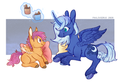 Size: 1600x1080 | Tagged: safe, artist:pavlovsdrug, princess luna, scootaloo, alicorn, classical unicorn, pegasus, unicorn, blank flank, chocolate, colored hooves, commission, constellation, curved horn, cute, duo, female, filly, food, horn, hot chocolate, leonine tail, long ears, magic, mare, pillow, s1 luna, two toned wings, underhoof, unshorn fetlocks, wings