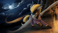 Size: 3000x1687 | Tagged: safe, artist:klarapl, oc, oc only, oc:blaze (shadowbolt), pegasus, pony, clothes, cloud, costume, full moon, high res, male, moon, night, night sky, shadowbolts, shadowbolts costume, sky, solo, spread wings, stallion, wings