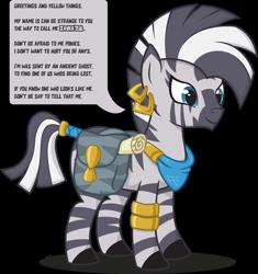 Size: 2000x2128 | Tagged: safe, artist:le-23, oc, zebra, bag, bandana, bracelet, ear piercing, earring, engrish, female, jewelry, piercing, quadrupedal, saddle bag, simple background, smiling, solo, tail ring, tail wrap, transparent background, zebra oc