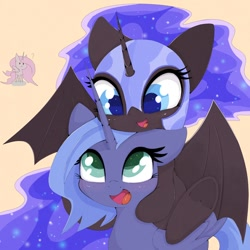Size: 1024x1024 | Tagged: safe, artist:zokkili, nightmare moon, princess celestia, princess luna, alicorn, pony, :3, bat wings, colored pupils, cream background, cute, duality, female, filly, lunabetes, moonabetes, nicemare moon, open mouth, pink-mane celestia, ponies riding ponies, riding, wings, woona, younger
