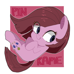 Size: 768x768 | Tagged: safe, artist:destroyer_aky, pinkie pie, earth pony, pony, abstract background, chibi, cute, cuteamena, eye clipping through hair, female, hooves to the chest, mare, pinkamena diane pie, pixiv, solo