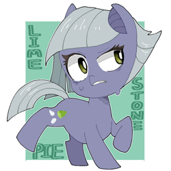 Size: 768x768 | Tagged: safe, artist:destroyer_aky, limestone pie, earth pony, pony, abstract background, chibi, cute, female, limabetes, mare, pixiv, solo, sweat