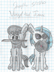 Size: 2730x3678 | Tagged: safe, artist:mlplayer dudez, dj pon-3, octavia melody, vinyl scratch, earth pony, pony, unicorn, bowtie, cel shading, chest fluff, colored, cute, duo, ear fluff, glasses, graph paper, happy, headphones, mouth hold, record, shading, signature, sitting, smiling, tavibetes, traditional art, vinylbetes