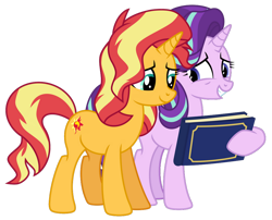 Size: 1024x826 | Tagged: safe, artist:emeraldblast63, starlight glimmer, sunset shimmer, pony, unicorn, memories and more, spoiler:memories and more, spoiler:mlp friendship is forever, female, scrapbook, simple background, transparent background