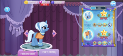 Size: 2436x1125 | Tagged: safe, screencap, trixie, pony, unicorn, alternate hairstyle, anklet, carousel boutique, clothes, gameloft, hair bun, jewelry, necklace, official, outfit, pearl necklace