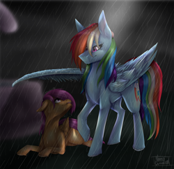 Size: 1920x1873 | Tagged: safe, artist:norrixcurral08, rainbow dash, scootaloo, pegasus, pony, cute, dashabetes, female, filly, mare, rain, redraw, scootalove, wing shelter