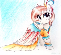 Size: 2584x2322 | Tagged: safe, artist:liaaqila, oc, oc:aurelia freefeather, oc:aurelleah, oc:aurry, pegasus, pony, clothes, commission, cute, dress, fancy dress, female, happy, looking at you, mare, ocbetes, simple background, smiling, smiling at you, solo, traditional art, watercolor painting, white background