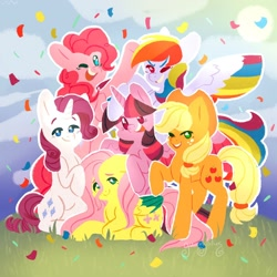Size: 1280x1280 | Tagged: safe, artist:gummylilies, applejack, fluttershy, pinkie pie, rainbow dash, rarity, twilight sparkle, alicorn, earth pony, pegasus, pony, unicorn, colored wings, confetti, cowboy hat, cute, female, hat, looking at you, mane six, mane six opening poses, mare, multicolored wings, one eye closed, open mouth, prone, smiling, twilight sparkle (alicorn), two toned wings, wings, wink