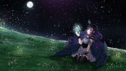 Size: 1600x900 | Tagged: safe, artist:kawurin, princess luna, human, alicorn humanization, clothes, cute, dress, full moon, garter belt, glowing horn, horn, horned humanization, humanized, lunabetes, magic, moon, night, sitting, sky, solo, starry night, stars, stockings, thigh highs, winged humanization, wings